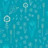 Seamless  pattern with autumn flowers, leaves and grass. Stock Photography