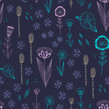 Seamless  pattern with autumn flowers, leaves and grass. Royalty Free Stock Photos