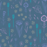 Seamless  pattern with autumn flowers, leaves and grass. Royalty Free Stock Images