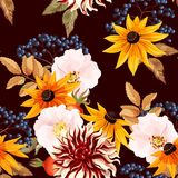 Seamless pattern with autumn flowers Stock Photo