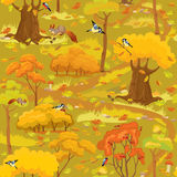 Seamless pattern - Autumn Forest Landscape with trees, mushrooms Stock Images