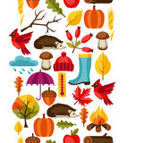Seamless pattern with autumn icons and objects Royalty Free Stock Photography