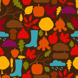 Seamless pattern with autumn icons and objects Royalty Free Stock Images
