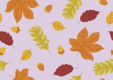 Seamless pattern of autumn leaves and acorn fall background. Vector illustration royalty free illustration