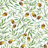 Seamless pattern with autumn leaves and acorns Royalty Free Stock Photo