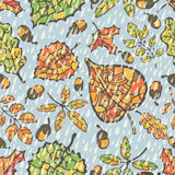 Seamless pattern.Autumn leaves and berryes. Royalty Free Stock Photography
