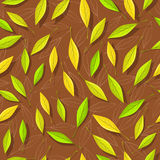 Seamless Pattern with Autumn Leaves on Brown Royalty Free Stock Images