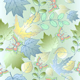 Seamless pattern of autumn leaves and butterflies. Blue leaves. Stock Images