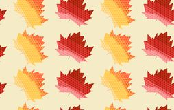 Seamless pattern with autumn leaves composed of red and yellow triangles on yellow background. Vector seamless pattern with autumn leaves composed of red and vector illustration