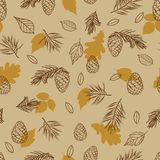 Seamless pattern from autumn leaves and cones. Background for fabric, cloth design, covers, manufacturing, wallpapers, print, gift. Wrap, scrapbooking. Vector stock illustration