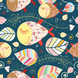 Seamless pattern with autumn leaves and fish Stock Photos