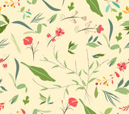 Seamless pattern autumn leaves and flower Stock Images