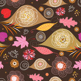 Seamless pattern from autumn leaves and flowers Stock Photos