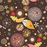 Seamless pattern from autumn leaves and flowers Stock Images