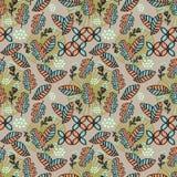 Feminine pattern of autumn leaves and foliage with mushroom and cloud batik motif vector illustration