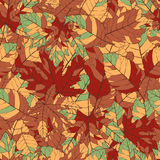 Seamless pattern with autumn leaves. Great for seasonal background and texture design Royalty Free Stock Photos