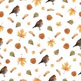 Seamless pattern with autumn leaves and little Robin bird.Colorful illustration.Watercolor handpainted texture on white background stock illustration