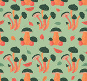 Seamless Pattern With Autumn Leaves And Mushrooms Stock Image