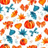 Seamless pattern from autumn leaves painted with watercolors on white background. Coloured bright leaves hand-painted. Pattern from autumn leaves painted with Royalty Free Stock Photos