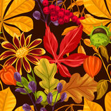 Seamless pattern with autumn leaves and plants. Background easy to use for backdrop, textile, wrapping paper Stock Photo