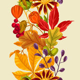 Seamless pattern with autumn leaves and plants. Background easy to use for backdrop, textile, wrapping paper Royalty Free Stock Images