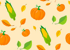 Seamless pattern from autumn leaves and pumpkins. Stock Image