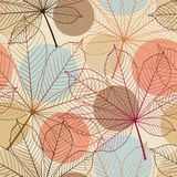 Seamless pattern with autumn leaves in a retro Stock Image