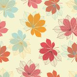Seamless pattern with autumn leaves in a retro Royalty Free Stock Photo