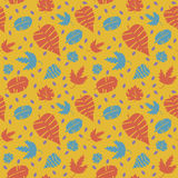 Seamless pattern with autumn leaves in a retro style Royalty Free Stock Photos
