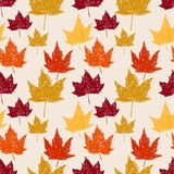 Seamless pattern with autumn leaves. Vector illustration Royalty Free Stock Photo