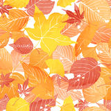 Seamless pattern of autumn leaves. By watercolor paint stock illustration