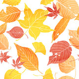 Seamless pattern of autumn leaves. By watercolor paint Royalty Free Stock Images