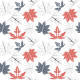 Seamless pattern with autumn leaves  on white background Royalty Free Stock Photo