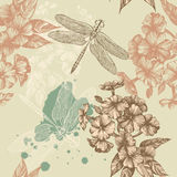 Seamless pattern of autumn, maple leaves and a dra