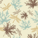 Seamless pattern of autumn, maple leaves and a dra stock illustration