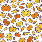 Seamless pattern with autumn maple leaves. Seamless pattern with silhouettes of colorful autumn maple leaves on a white background Royalty Free Illustration