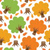 Seamless pattern autumn oaks Stock Photos