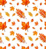 Seamless pattern with autumn orange watercolor leaves. stock illustration