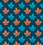 Seamless pattern with autumn Parthenocissus foliage. Creative vector illustration Royalty Free Stock Photo