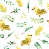 Seamless pattern with autumn plants and birds Royalty Free Stock Photos