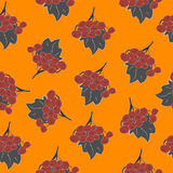 Seamless Pattern of autumn rowan/viburnum in orange, red, brown and grey. Perfect for wallpapers, gift papers, backgrounds, cards Royalty Free Stock Images