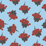 Seamless Pattern of autumn rowan/viburnum in red and grey. Perfect for wallpapers, gift papers, backgrounds, cards, pattern fills Royalty Free Stock Photo
