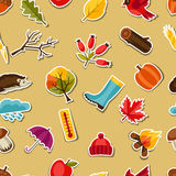 Seamless pattern with autumn sticker icons and Royalty Free Stock Photo