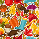 Seamless pattern with autumn sticker icons and Stock Photos