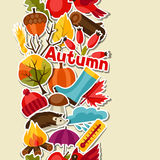 Seamless pattern with autumn sticker icons and Royalty Free Stock Photography