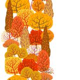 Seamless pattern with autumn stylized trees. Landscape seasonal illustration Royalty Free Stock Photo