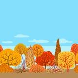 Seamless pattern with autumn stylized trees. Landscape seasonal illustration Stock Illustration