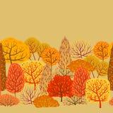 Seamless pattern with autumn stylized trees. Landscape seasonal illustration Stock Photos