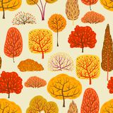 Seamless pattern with autumn stylized trees. Landscape seasonal illustration Stock Photography