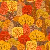 Seamless pattern with autumn stylized trees. Landscape seasonal illustration Stock Image